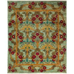 Hand-Knotted Rug in the Style of an Arts & Crafts Design