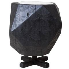 Charred NYC Water Tower Wood Dodecahedron Side Table
