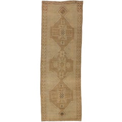 Vintage Turkish Oushak Carpet Runner with Modern Style and Muted Colors
