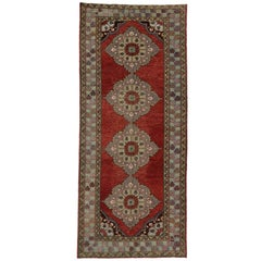 Vintage Turkish Oushak Carpet Runner with Traditional Style