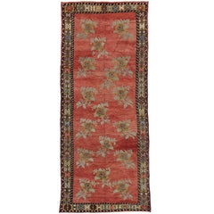 Vintage Turkish Oushak Hallway Runner with English Country Cottage Style