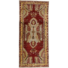 Vintage Turkish Oushak Gallery Rug, Wide Hallway Runner