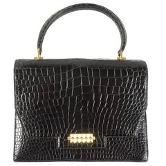 Hermès Handbag in Black Alligator, circa 1960