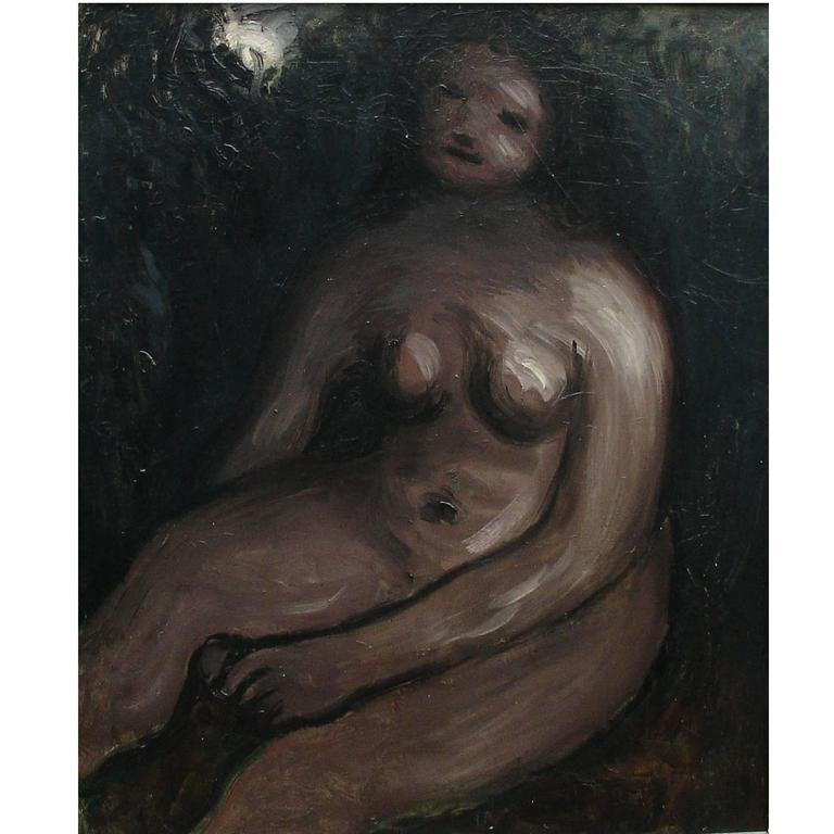 20th Century Bernard Meninsky Rare Nude by Oil on Canvas British School