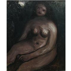 20th Century Bernard Meninsky Rare Nude by Oil on Canvas British School