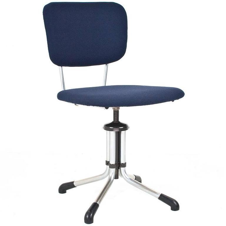 1930s Dutch Gispen Swivel Office Desk Chair New Upholstered