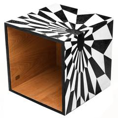 Tectonic Silence Cube Side Table in Marble Marquetry