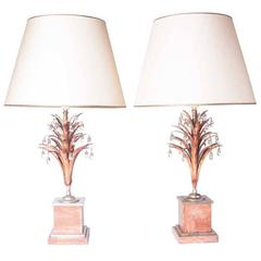 1930's silverplated nickel, polychrome & mountain crystal lamps