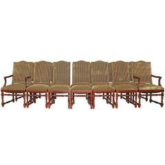 Set of 14 Striped Velvet Upholstery Dining Room Chairs