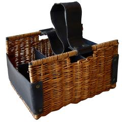 Jacques Adnet Rattan and Leather Wine Basket