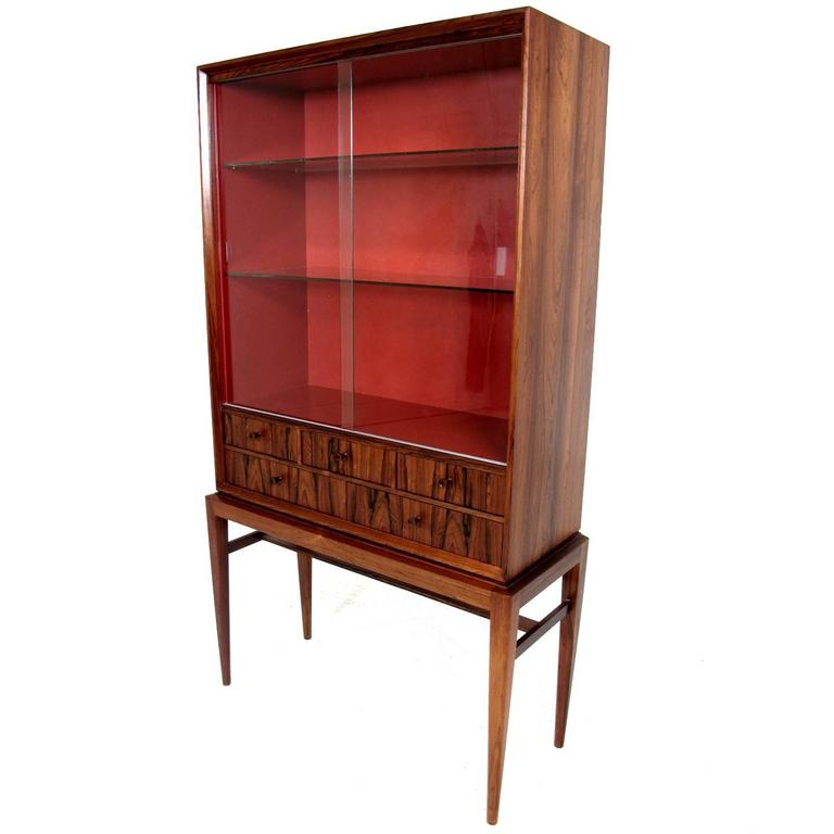 midcentury rosewood display cabinet designed by svante skogh 1