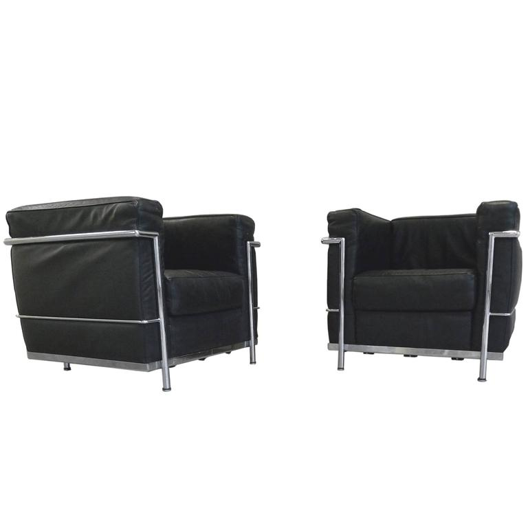 black leather club chairs in the manner of le corbusier for sale at