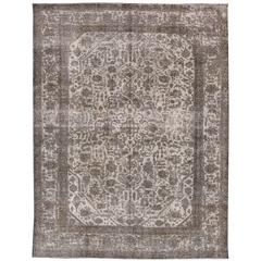 Beautifully Contrasted Vintage Distressed Overdyed Rug