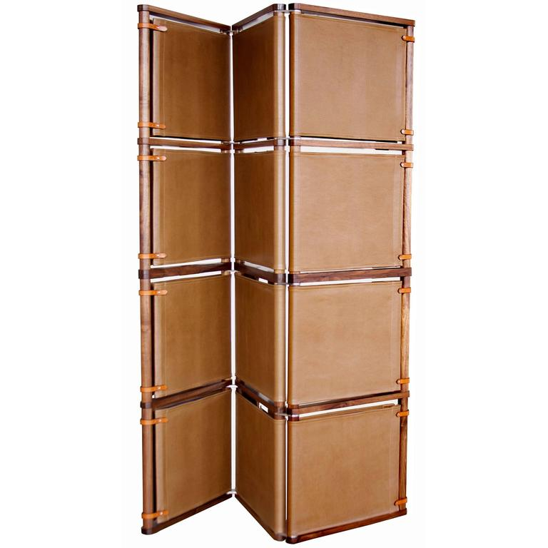 Lambert Folding Screen in Oiled Walnut with Leather Panels and Leather Strapping