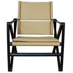 Maclaren Lounge Chair in Ebonized Walnut with Khaki Canvas and Black Leather
