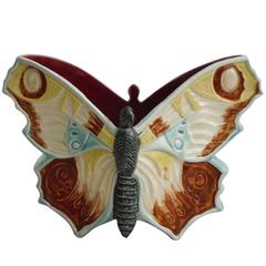 19th Century Majolica Butterfly Jardiniere