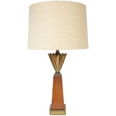 Stiffel Brass and Walnut Mid-Century Modern Obelisk Table Lamp with Brass Crown