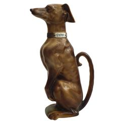 Majolica Brown Whippet Dog Pitcher Saint Clement, circa 1900