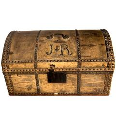 Charming King George I Pony Skin Coaching Trunk, Makers Label X2, 18th Century