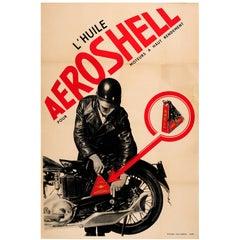 Original Vintage Constructivist Design Advertising Poster for Aeroshell Oil
