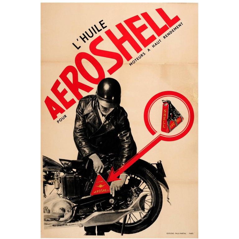 Original Vintage Constructivist Design Advertising Poster for Aeroshell Oil For Sale