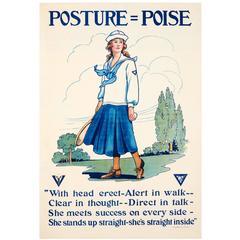 Original Vintage YWCA Motivational Health Poster Posture Poise Featuring Tennis