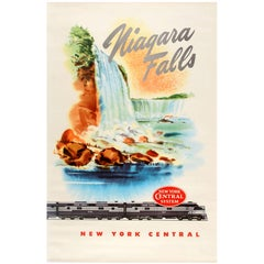 Original Vintage New York Central Railway Poster Advertising the Niagara Falls