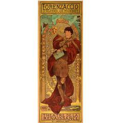 Original Antique Theatre Poster by Mucha - Lorenzaccio Starring Sarah Bernhardt