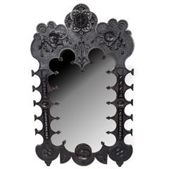 19th Century Black Painted Gothic Revival Mirror