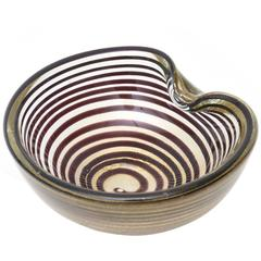 Italian Vintage Murano Seguso Zebratti Spiral Optical Glass Bowl