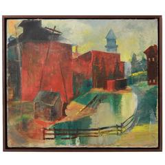 Walnut Framed Cityscape with Red Buildings
