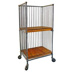 Caged Bindery Cart with Castors, Metal and Wood Rolling Printer's Shelf