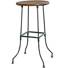 Vintage Industrial Wood and Bent Steel Leg Backless Bar Stool