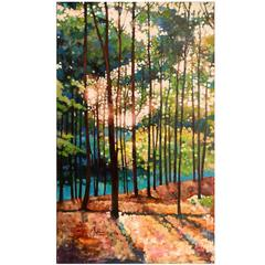 """Original Oil and Oil Pastels Painting Landscape by Kevin Conklin """"Poet's Walk 4"""""""
