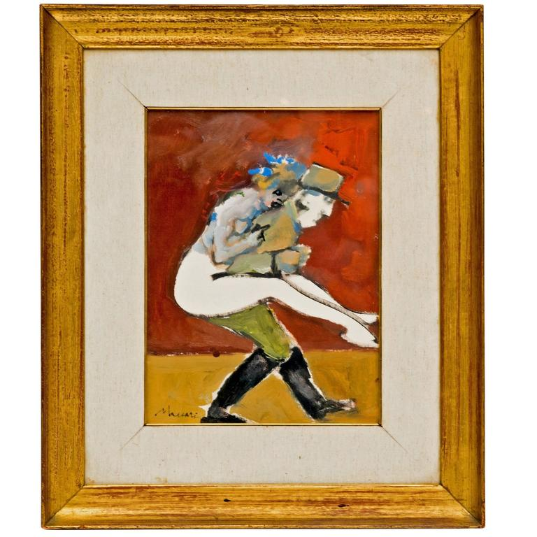 1950s Abstract Figural Painting of a French Officer and a Woman