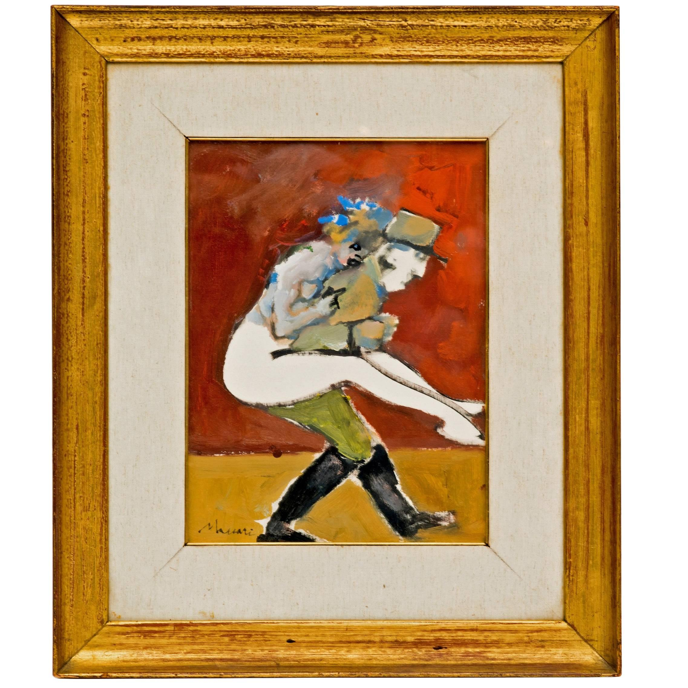 Abstract Figural Painting of a French Officer and a Woman