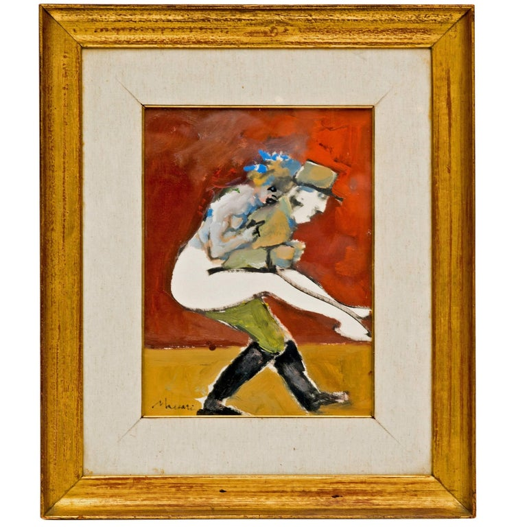 Abstract Figural Painting of a French Officer and a Woman For Sale