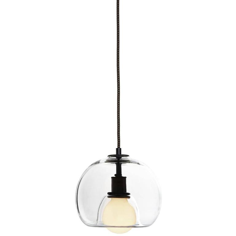 Eres Clear Handblown Glass Orb Pendant Light For Sale At