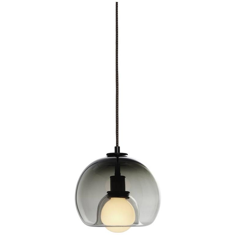 Eres Smoke, Handblown Glass Orb Pendant Light For Sale