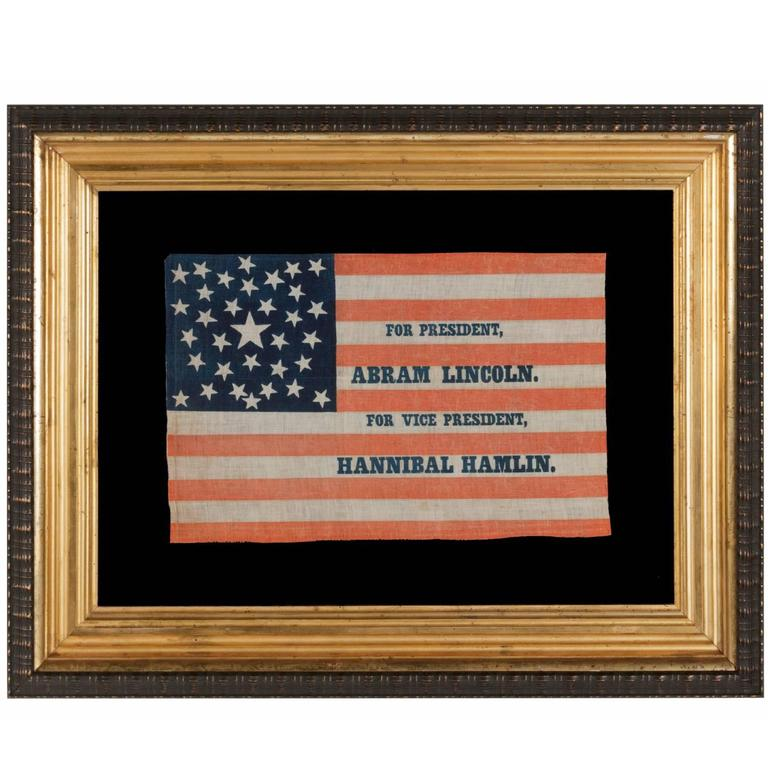 1860 Lincoln Campaign Parade Flag with 33 Stars in a Pentagon Medallion For Sale