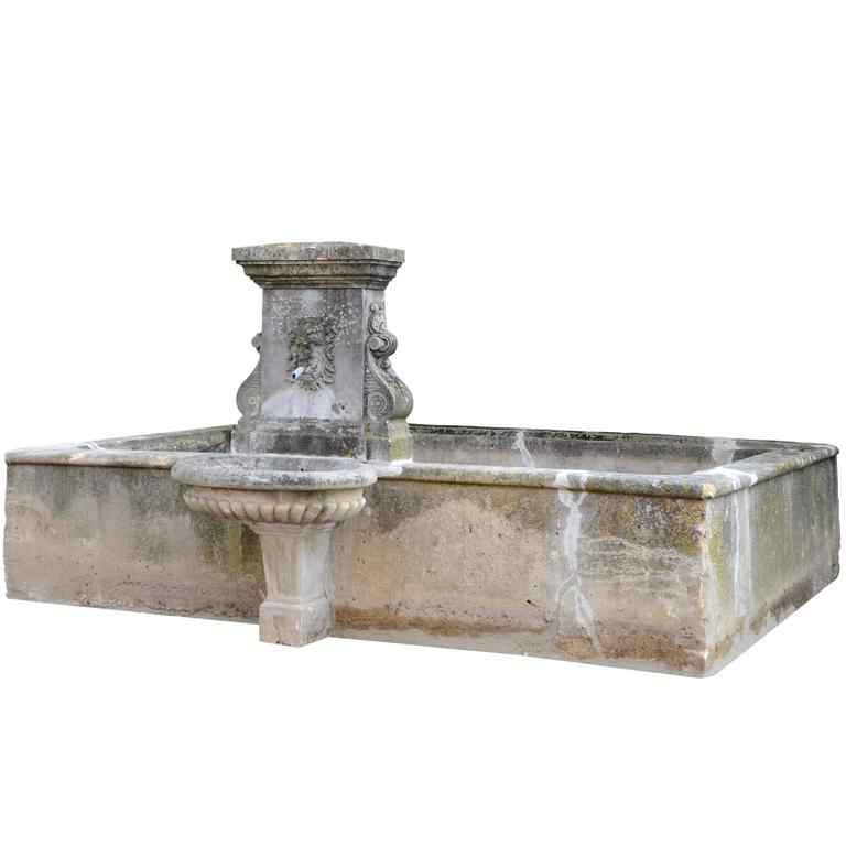 Louis XIV Style Stone Basin with Fountain Backed, circa 1820