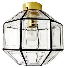 Hexagonal  Jakobsson Limburg Glass Brass Flush Mount Light, Danish Modern