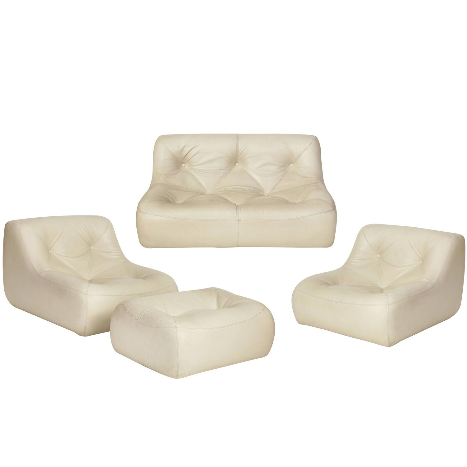 ligne roset vintage white leather set michel ducaroy kali chair sofa 1970 for sale at 1stdibs. Black Bedroom Furniture Sets. Home Design Ideas