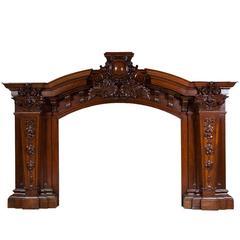 Antique Baroque Oak Fireplace