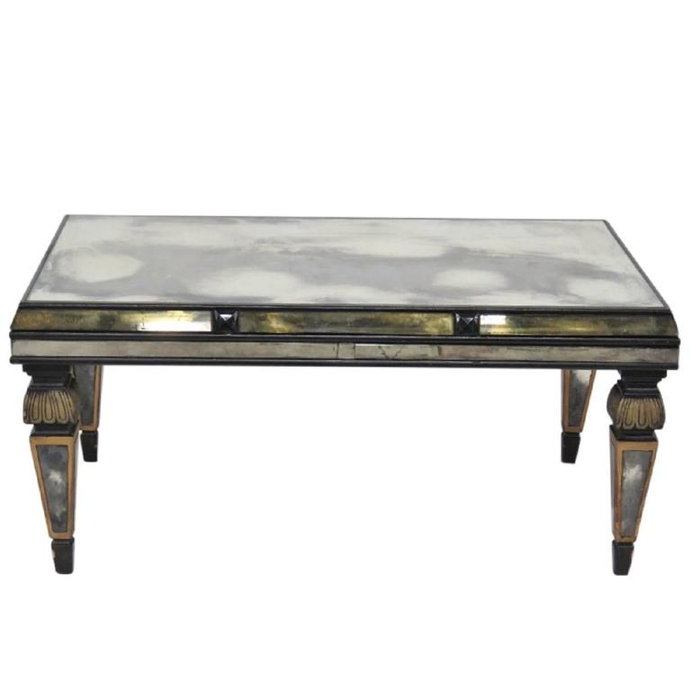Empire Mirrored Coffee Table: Empire Style Ebonized And Églomiséd Coffee Table For Sale