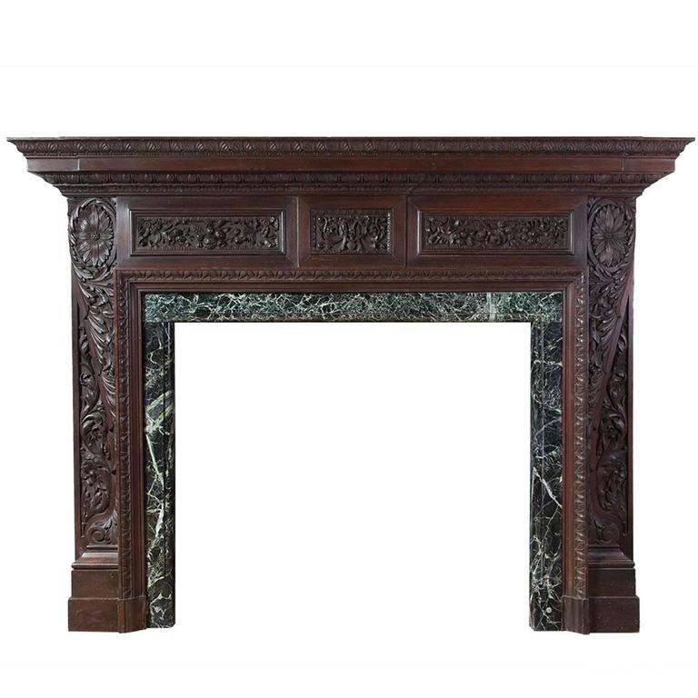English Antique Carved Teak Fireplace