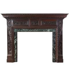 English Antique Carved Teak Fireplace
