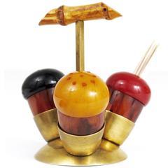 Mid-Century Salt Pepper Toothpick Cruet Set, Richard Rohac, Austria, 1950s
