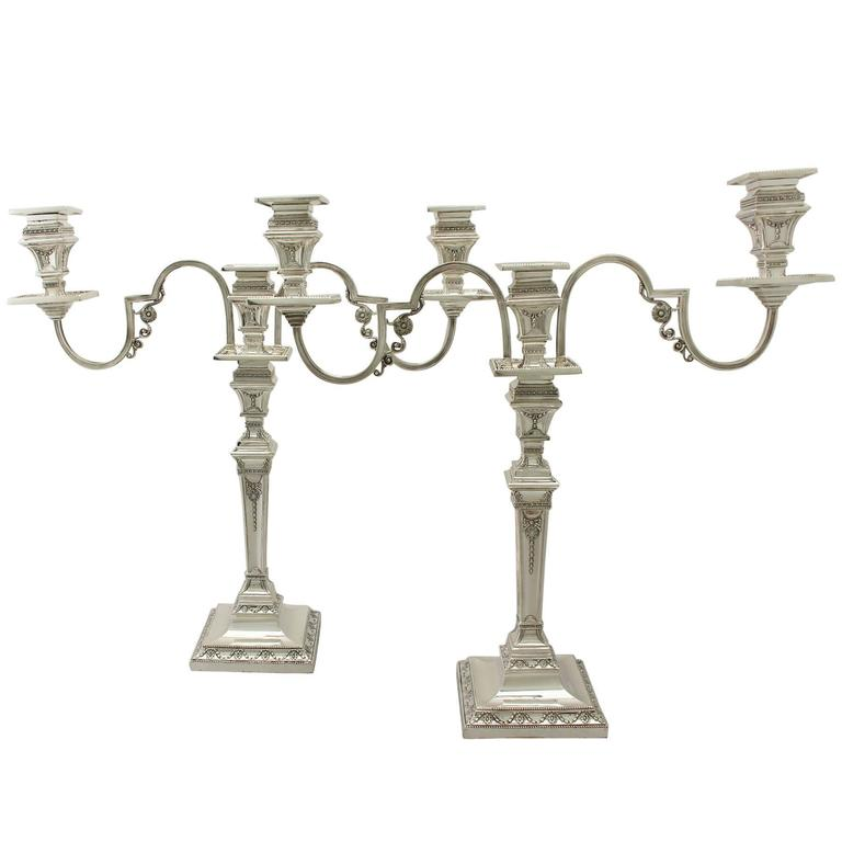 Antique Victorian Sterling Silver Three-Light Candelabra, Empire Style