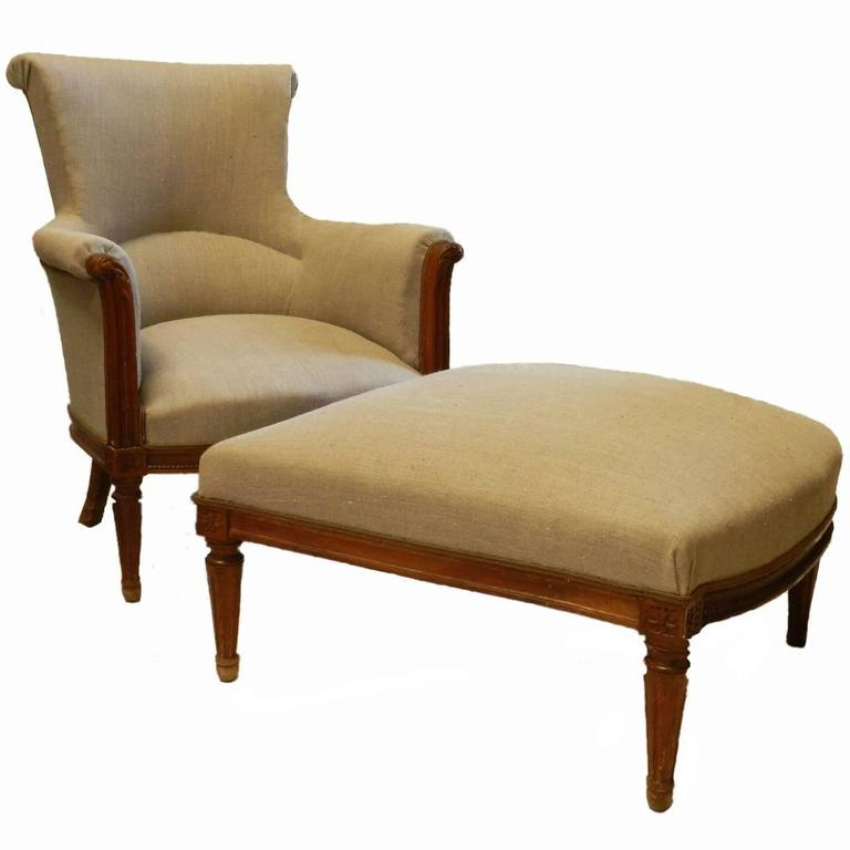 French Duchesse Brisee Armchair And Ottoman Upholstered Natural Linen For Sal